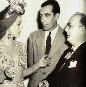 Foto: Miguel de Marcos, dcha con la actriz dominicana Maria Montez y el periodista Jorge Marti al centro